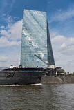 Cargo ship in front of the european central bank on the river Main, Frankfurt, Germany Stock Image