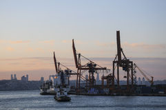 Cargo ship full of containers on harbor Royalty Free Stock Photography