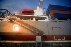 Cargo ship full of shipping containers. Cargo ship full of shipping containers in the port stock image