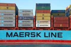 Cargo ship GERNER MAERSK departing the Port of Oakland. Oakland, CA - September 29, 2016: Cargo ship GERNER MAERSK departing the Port of Oakland. Maersk is the Royalty Free Stock Image
