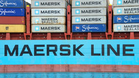 Cargo Ship GUNVOR MAERSK entering the Port of Oakland royalty free stock images