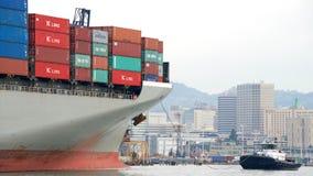 Cargo Ship HAMBURG BRIDGE departing the Port of Oakland Royalty Free Stock Images