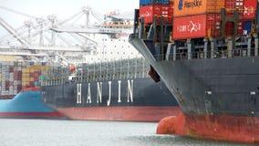 Cargo Ship HANJIN JUNGIL unloading at the Port of Oakland Royalty Free Stock Image
