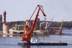 Cargo ship in harbor Stock Photography