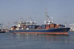 Cargo ship in the harbor Stock Image