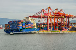 Cargo Ship in Harbour Royalty Free Stock Photography