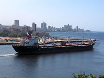 Cargo ship at Havana bay Royalty Free Stock Photos