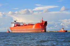 Cargo ship heading for port Stock Photo