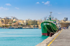 Cargo ship at Heraklion port Royalty Free Stock Images