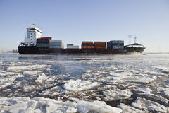 Cargo ship on ice Stock Image