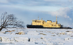 Cargo ship on the ice sea Stock Image