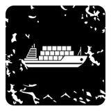 Cargo ship icon, grunge style Royalty Free Stock Images