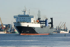 Cargo Ship In Harbor Royalty Free Stock Images