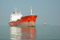Cargo ship in Indian ocean Stock Photos