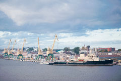 Cargo ship industrial port Stock Images