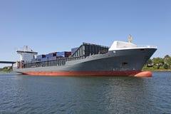 Cargo ship on Kiel Canal Royalty Free Stock Photo