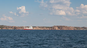 Cargo ship. A large cargo ship waiting to get access to a port in sweden royalty free stock photography
