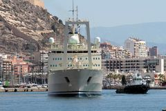 Cargo ship. Leaving the port of Alicante Royalty Free Stock Photography