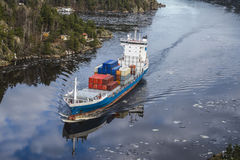 Cargo Ship Leaving The Ringdalsfjord Stock Photos