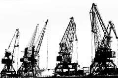 Cargo ship-lifting cranes on the river  in the port (black-and-white photo) Stock Image