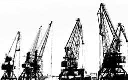 Cargo ship-lifting cranes on the river  in the port (black-and-white photo) Stock Photo