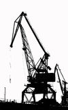 Cargo ship-lifting cranes on the river  in the port (black-and-white photo) Stock Photos