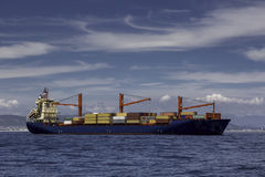 Cargo ship. Loaded cargo container ship close to Cape Town Stock Photo