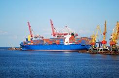 Cargo ship on loading Stock Image