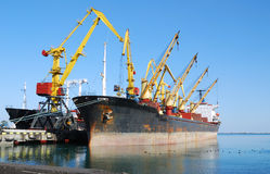 Cargo ship on loading Royalty Free Stock Photo