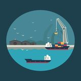Cargo ship loading containers on board. Infographic illustration Royalty Free Stock Photos