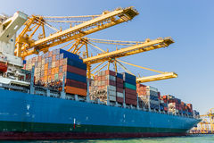 Cargo Ship Loading Containers Royalty Free Stock Photos