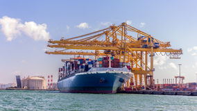 Cargo Ship Loading Containers Stock Image
