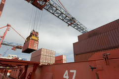 Cargo ship loading containers in Rotterdam. Stock Photos