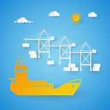 Cargo Ship Loading in Shipping Port. Harbor Dock. Cut Paper Illustration. Cargo Ship Loading in Shipping Port. Harbor Dock. Cut Paper Vector Illustration Royalty Free Stock Photography
