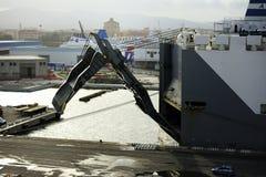 Cargo ship lowering its platform Stock Photo