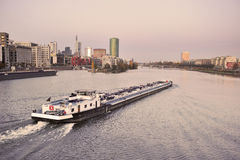 Cargo ship on Main River in Frankfurt Stock Image