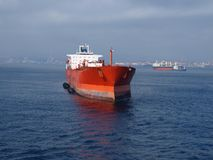Cargo Ship in the Mediterranean Stock Photos
