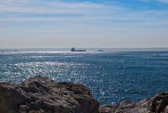 CARGO SHIP IN MEDITERRANEAN SEA stock photography