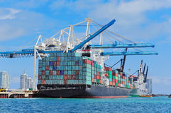 Cargo ship at Miami harbor Stock Images