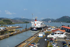 Cargo ship in the Miraflores Locks in the Panama Canal, in Panama Royalty Free Stock Photos