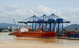 Cargo ship moored in port Stock Photo