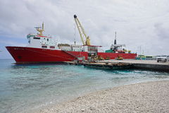 Cargo ship moored wharf Rangiroa French Polynesiaia Stock Photo