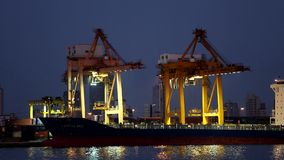 Cargo ship. Moving load at port at nightStock stock video footage