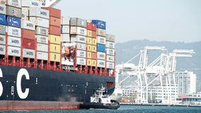 Cargo Ship MSC BRUNELLA arriving at the Port of Oakland Royalty Free Stock Photos
