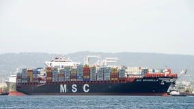 Cargo Ship MSC BRUNELLA arriving at the Port of Oakland Stock Image