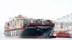 Cargo Ship MSC BRUNELLA arriving at the Port of Oakland Royalty Free Stock Images