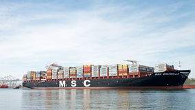 Cargo Ship MSC BRUNELLA arriving at the Port of Oakland Stock Photography