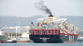 Cargo Ship MSC BRUNELLA arriving at the Port of Oakland Stock Photo