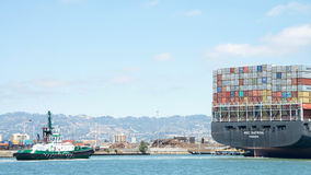 Cargo Ship MSC KATRINA entering the Port of Oakland Royalty Free Stock Images