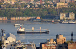 Cargo ship near New York Hudson River Royalty Free Stock Images